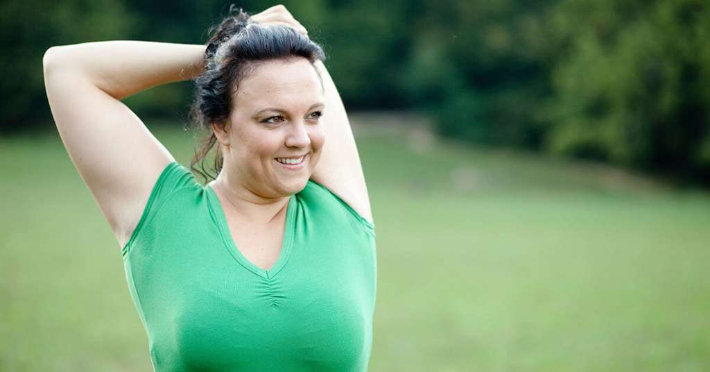 photo of woman exercising and header for breast changes page